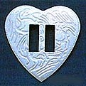 "1 1/4"" Stamped Vertical Slotted  Heart Concho (10 pack) - CH131720"