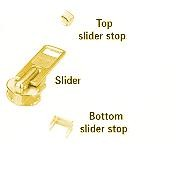 1-Dozen #5 Brass Plate Zipper Top Stops - ZP405T