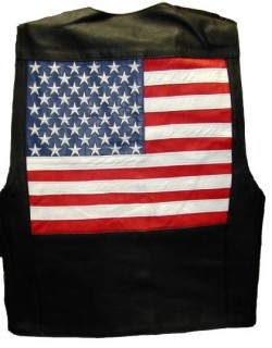 American Flag Leather Vest (Sizes 3X - 5X) - MC2975