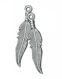 Silver Plated Feather Embelishments (10 Pack Large) - CC7036X