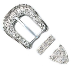 "1 1/4"" Antique Silver Plate Buckle Set - B673420ASP"