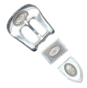 "1"" Silver Plate Buckle Set - B7222816SP"