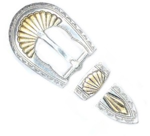 "3/4"" Silver & Gold Plate Buckle Set - B7238612SGP"