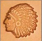"3/4"" Medium 3-D Stamp Indian Chief"