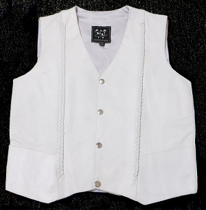 Braided White Leather Vest - MC6037